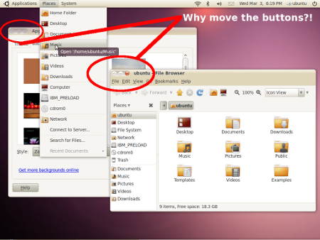 Ubuntu Theme Changed Buttons Moved